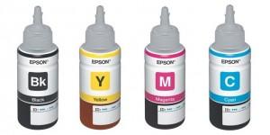 Refis originais Epson utilizados na recarga de tinta da multifuncional