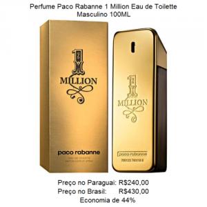 Comparativo de preço de um perfume 1 Million Pacco Rabanne entre Brasil e Paraguai.