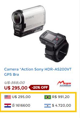 preços nas 3 moedas